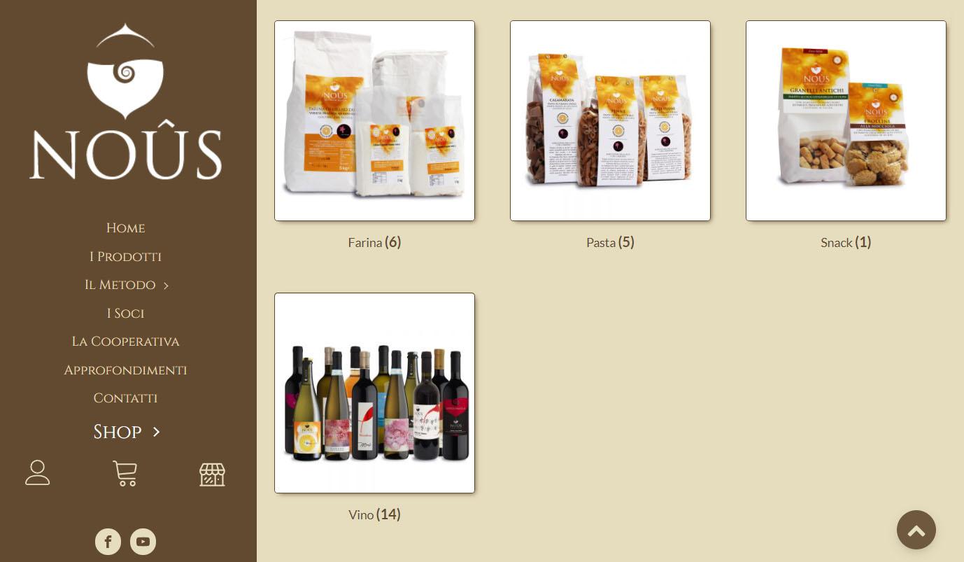 Sito della cooperativa vino nuovo dove si possono comprare i prodotti Vini di Luce